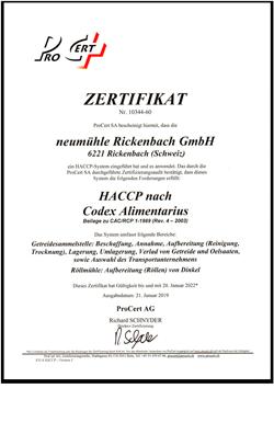 Zertifikat HACCP