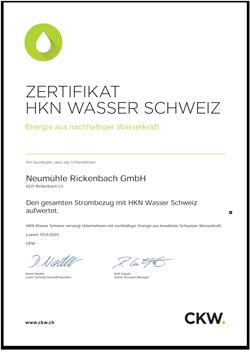 Zertifikat HKN Wasser