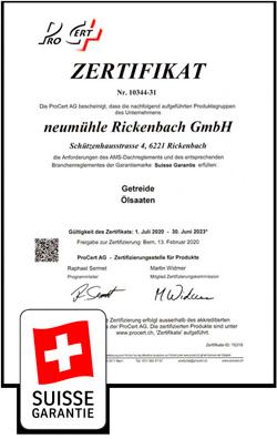 Zertifikat IP-Suisse 2020